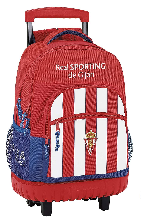 Safta Mochila Escolar Grande Con Ruedas Real Sporting De Gijon Oficial 320x140x460mm: Amazon.es: Equipaje