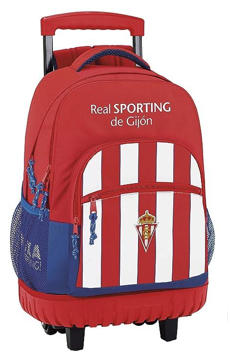 Safta Mochila Escolar Grande Con Ruedas Real Sporting De Gijon Oficial 320x140x460mm