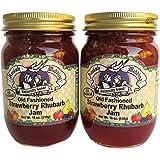 Amish Wedding Foods Old Fashioned Strawberry Rhubarb Jam All Natural 2-18 oz. Jars