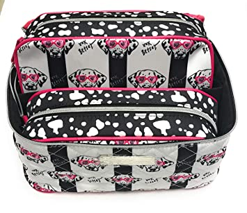 Image Unavailable. Image not available for. Color  Betsey Johnson Black    White Dalmatian Dog 3 Pc. Train Case Set ... 0cdbadfc5f367