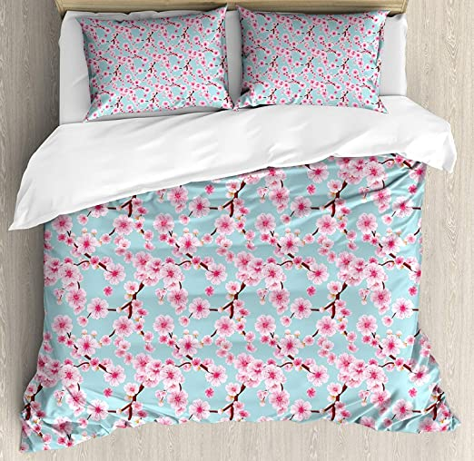 The Home Collection Premium Ultra Soft 4 Piece Blossoms Bed Sheet Set in Blue
