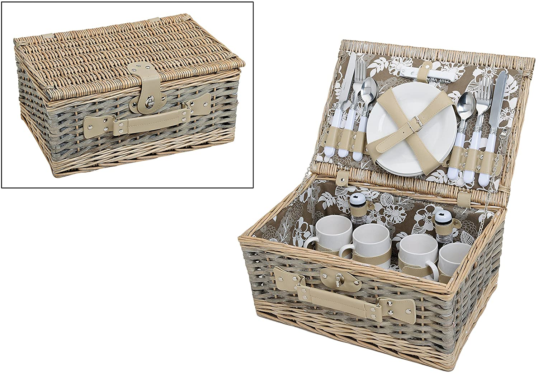Cesta de picnic con estampado de flores, verde y blanca, para 4 personas, con platos, cubiertos y tazas, 24 piezas con vajilla, cesta de mimbre: Amazon.es: ...