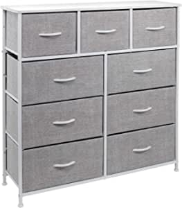 Sorbus Dresser with 9 Drawers - Furniture Storage Chest Tower Unit for Bedroom, Hallway, Closet, Office Organization - Steel Frame, Wood Top, Easy Pull Fabric Bins (White)