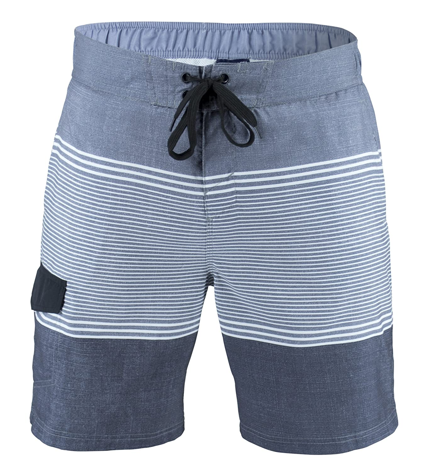 d8e350ee0e Matereek Men's Shorts Stripe Effect Swimwear Swim Trunks Aqua | Amazon.com