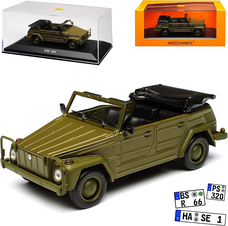 Minichamps Volkwagen Typ 181 Kurierwagen Gr/ün 1969-1980 1//43 Maxichamps Modell Auto mit individiuellem Wunschkennzeichen