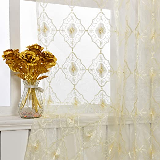 -1280808C1FFFBUX15063-8511 1 Panel, W 50 x L 63 inch, Blue Aside Bside Sheer Curtains Floral Embroidered Bead Decor Natural Style Rod Pocket Voile Panels Drapes for Living Room /& Kitchen