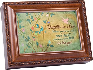 Cottage Garden Daughter-in-Law Won Our Hearts Woodgrain Rope Trim Jewelry Music Box Plays You are My Sunshine