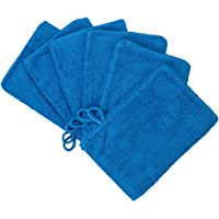 Made Easy Kit Bath Mitts - Pack of 6 - European Style Washcloth with Loop by MEK (Blue, 6 x 9 inches)