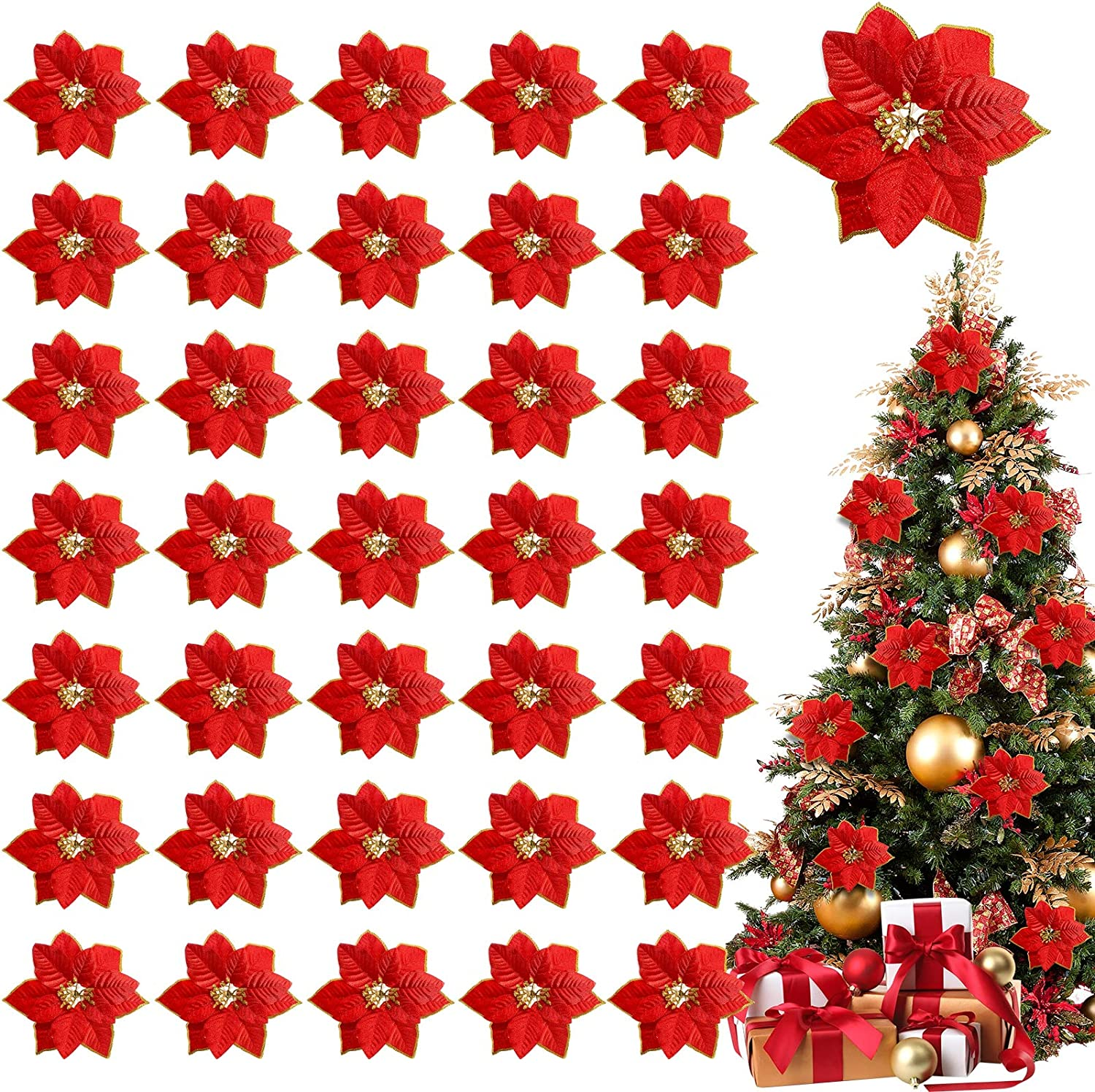 TURNMEON 36 Pack Christmas Gold Silver Glitter Poinsettia Artificial Silk Flowers Picks Christmas Tree Ornaments 4 Inch Wide for Gold Christmas Tree Wreaths Garland Holiday Decoration (Red)