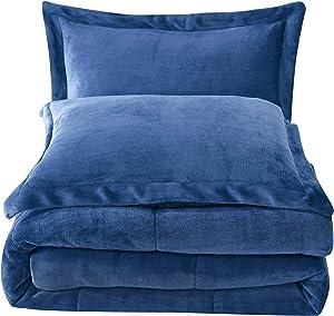 Chezmoi Collection 3-Piece Micromink Sherpa Reversible Down Alternative Comforter Set (Queen, Navy)