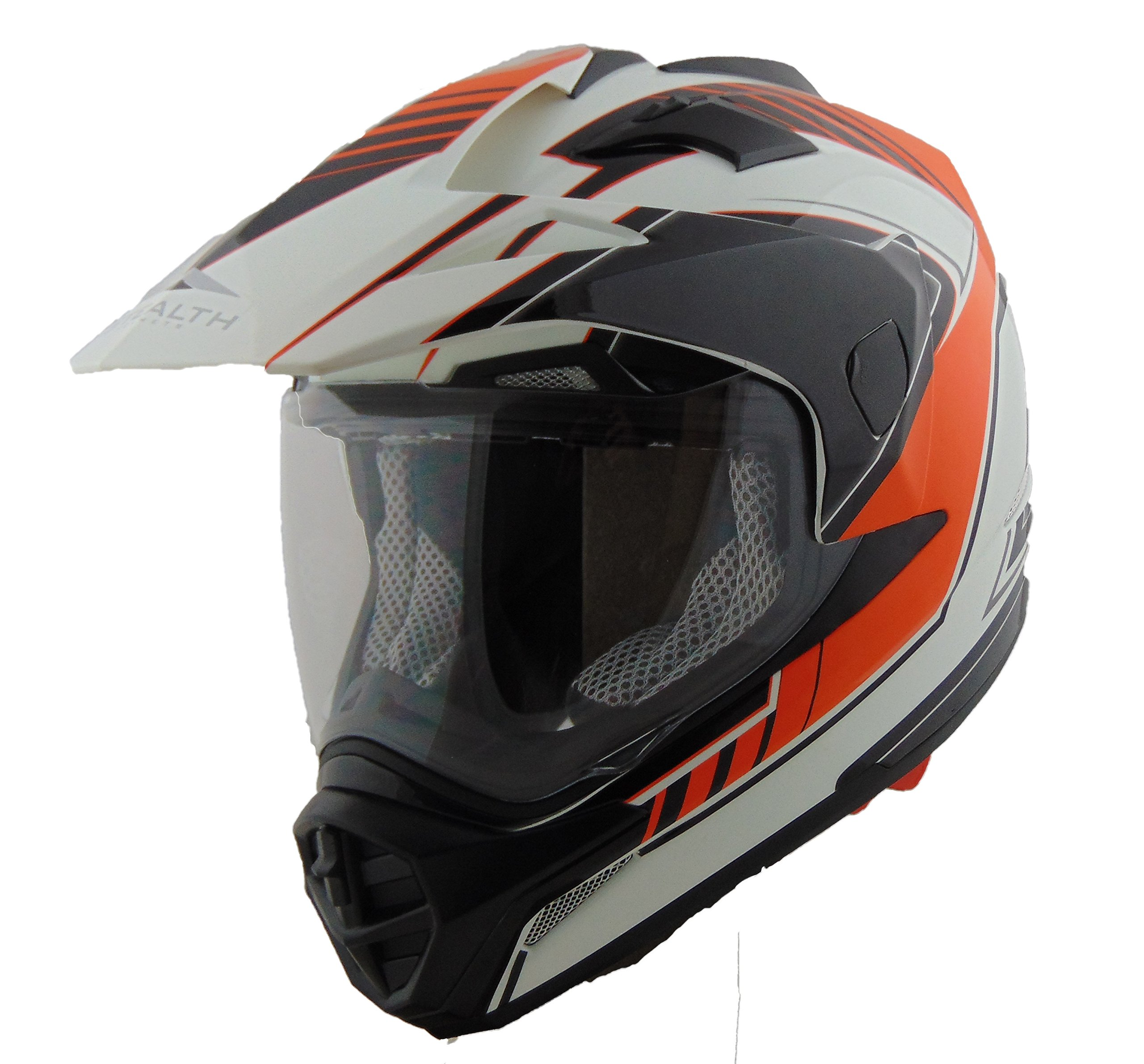 Stealth Cross Tour Dual Sport Helmet with Flow Graphic (Orange, Medium)
