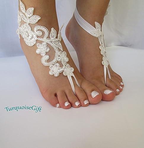 Wedding Sandals For Bride.Beach Wedding Barefoot Sandals Bride Beach Sandals Ivory Lace Barefoot Sandals