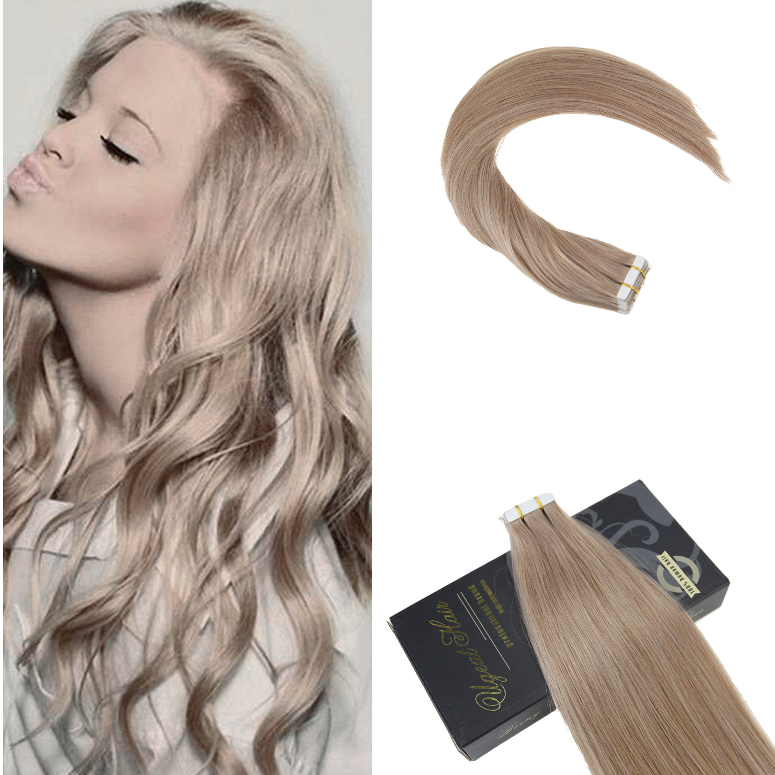 Amazon Ugeat 18inch 50gram Tape In Human Hair Extensions Light