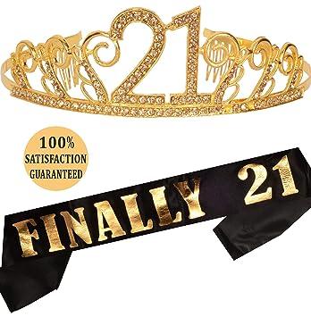 Amazon.com: MEANT2TOBE - Tiara de 21 cumpleaños y corona de ...
