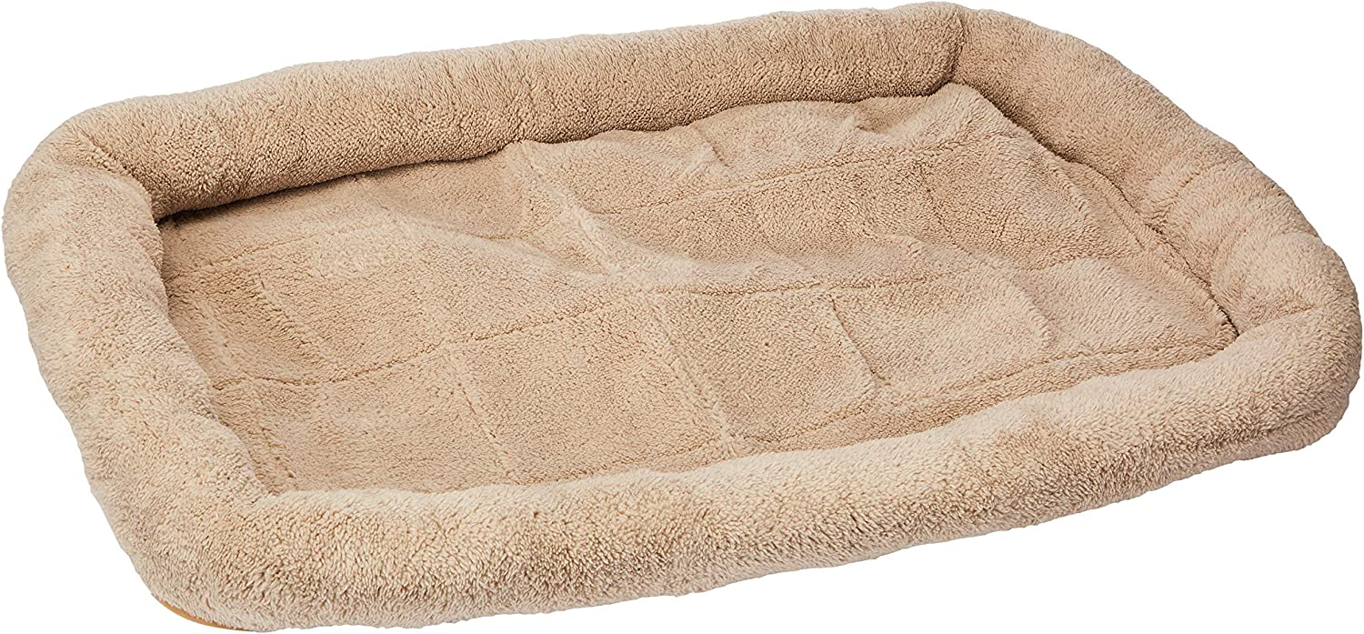 Paws & Pals Deluxe Bolster Pet Bed for Cat & Dog Crate Bedding Mattress Pad – Soft Quilted Cushion Mat - Rectangular Fits Crate, Carrier & Kennel - Various Sizes
