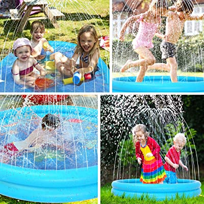 Water Play Mat Splash Pad Outside 68IN Inflatable Blow Up Pool Summer Outdoor Water Toys,Wading Pool Sprinkle Play Mat Sprinkler /& Splash Pad for Kids