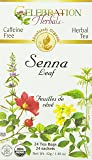 Celebration Herbals Organic Senna Leaf Tea Caffeine Free -- 24 Herbal Tea Bags