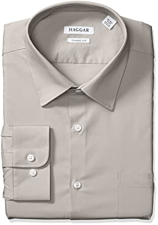 a7f94c794d5a72 Haggar Dress Shirts Men's Classic Fit Performance Adjustable Spread Collar  Dress Shirt, Beige/Khaki