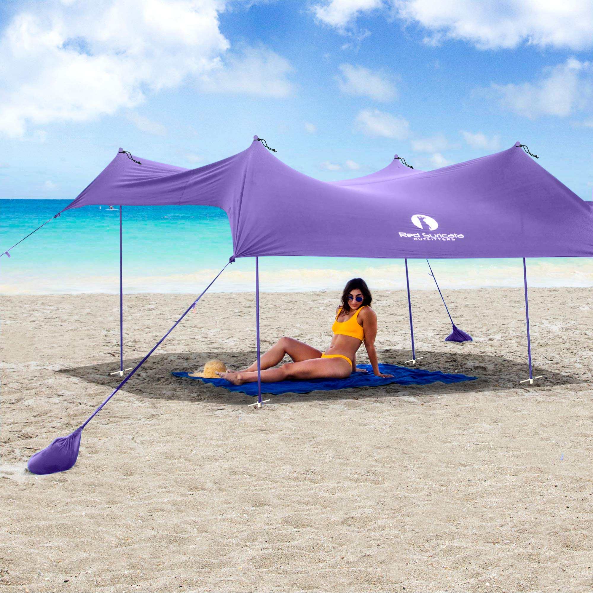 Red Suricata Family Beach Sunshade - Sun Shade Canopy | UPF50 UV Protection | Tent with 4 Aluminum Poles, 4 Pole Anchors, 4 Sandbag Anchors | Large & Portable Shelter Tarp (Purple, Medium) by Red Suricata