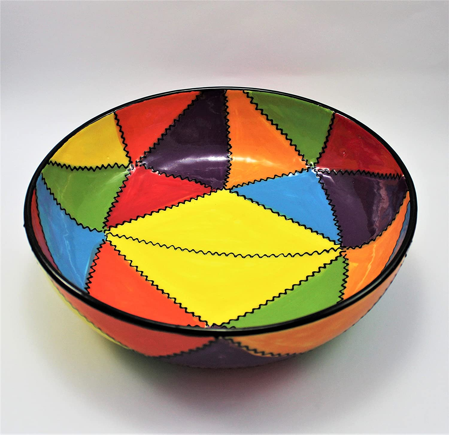 Bowl/Salad Bowl Ceramic. Very decorative. Hand Painted. Handmade. Made in Spain. 17.5cm multi-coloured rg