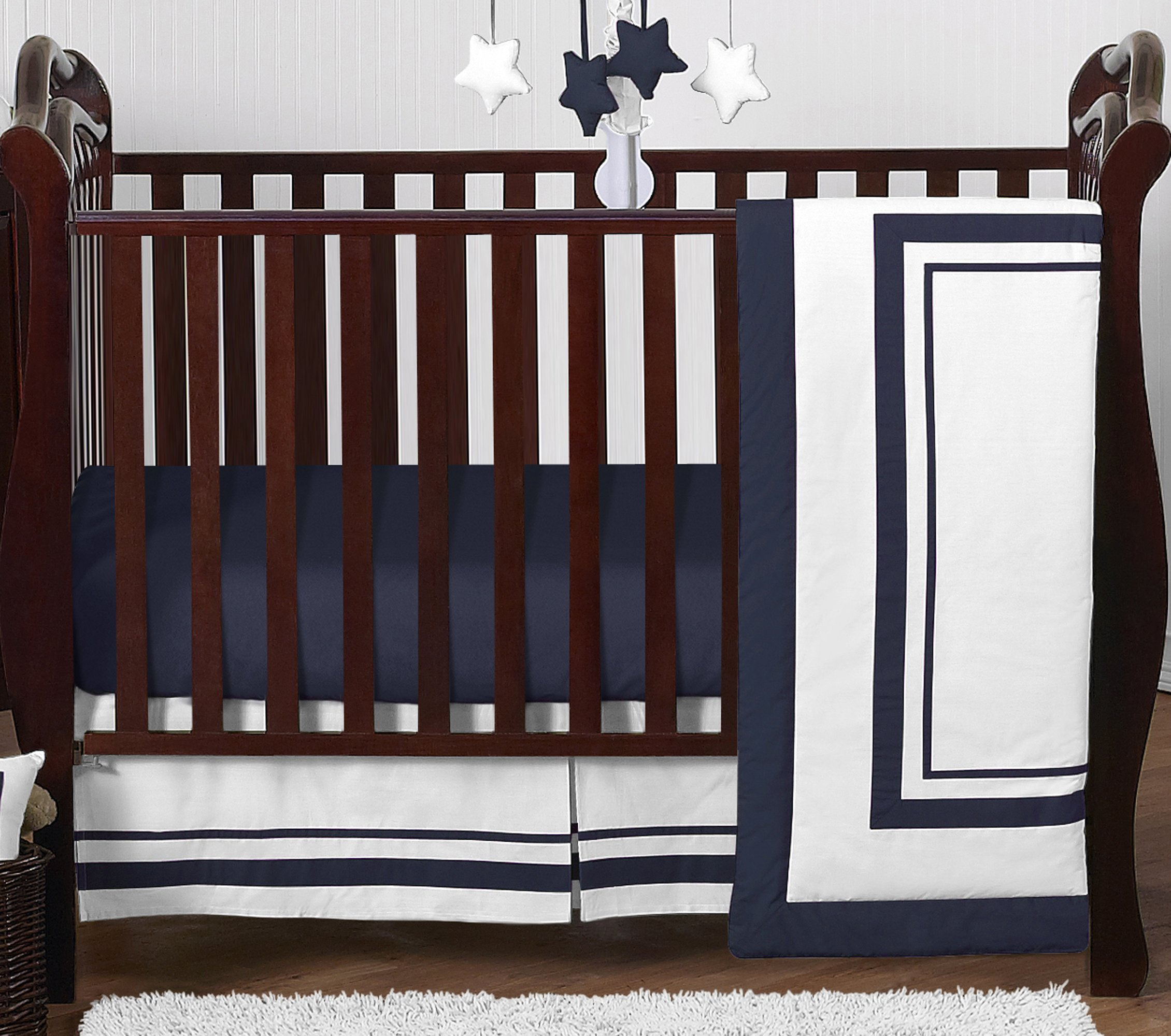 Contemporary White and Navy Modern Hotel Baby Boy Girl Unisex Bedding 4 Piece Crib Set Without Bumper