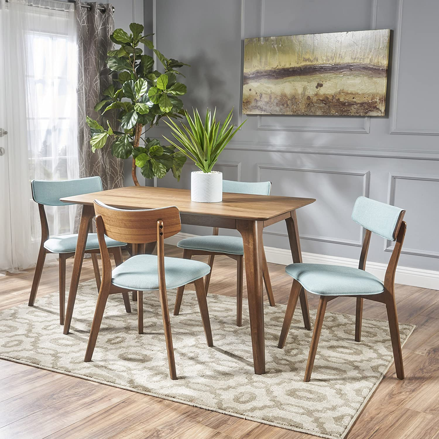 Meanda Mid Century Natural Walnut Finished 5 Piece Wood Dining Set with Mint Fabric Chairs