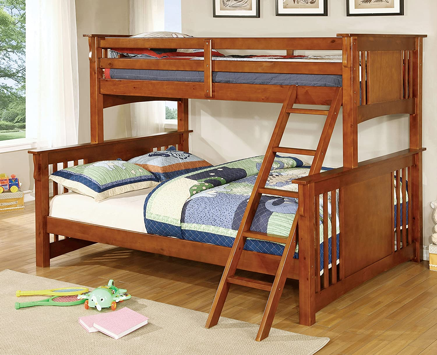 Amazon.com: Furniture Of America Denny TwinXL Queen Bunk Bed, Oak: Kitchen  U0026 Dining