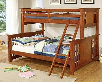 furniture of america denny twinxl queen bunk bed oak
