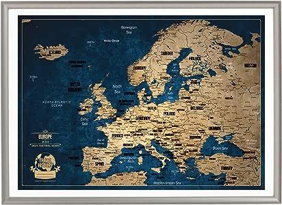 Mapa de Viaje con Chinchetas, Mapa de Viaje Europeo con Marco ...