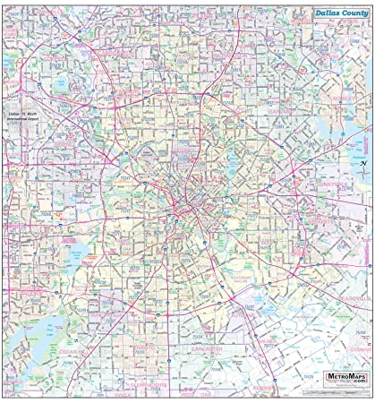 Amazon.com : Dallas County Detailed Arterial Wall Map (36