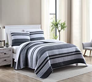 Nautica Home | Ardmoore Collection | Premium Cotton Ultra Soft Quilt Coverlet, Comfortable 3 Piece Bedding Set, All Season Stylish Bedspread, King, Grey