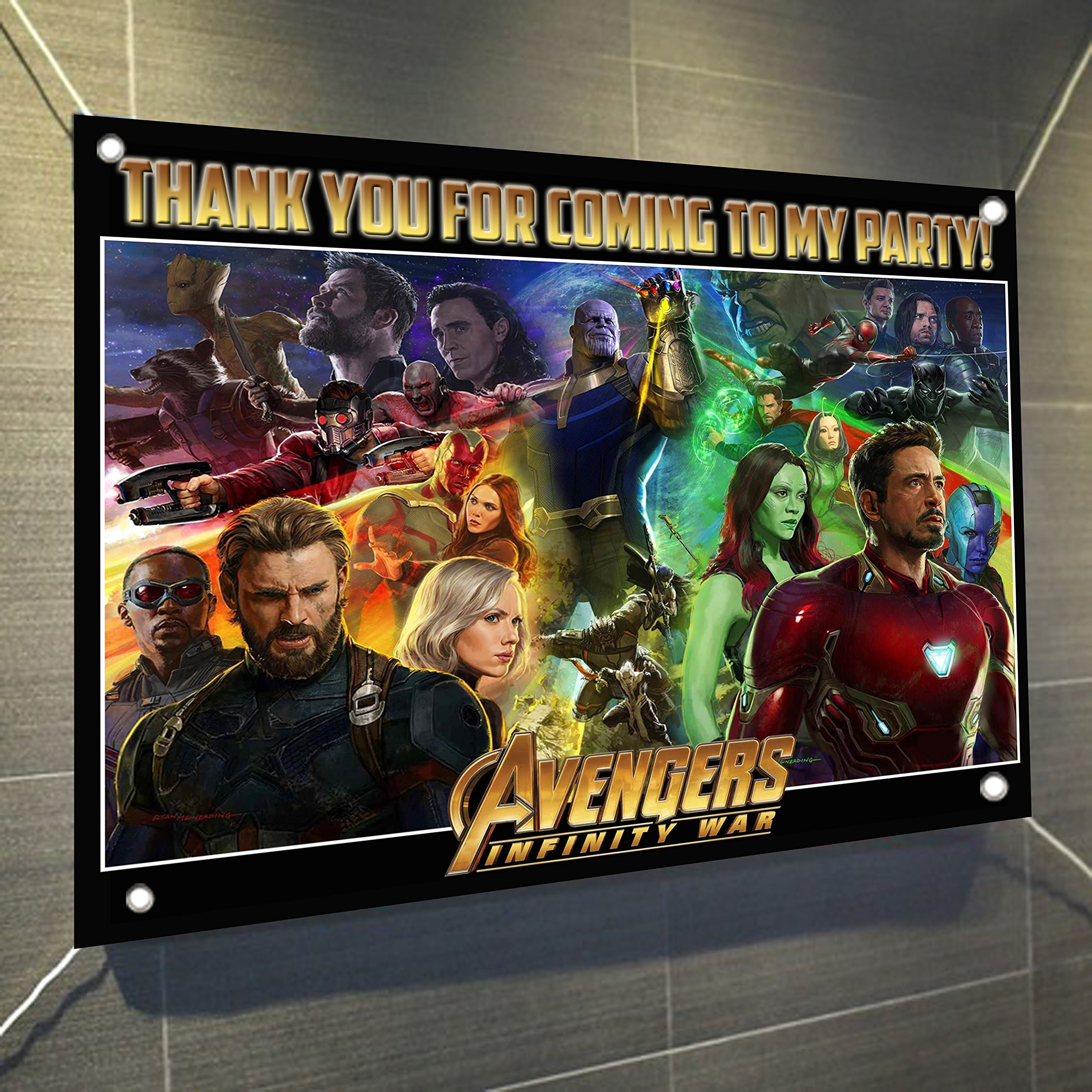 AVENGERS Infinity War Movie Banner Large Vinyl Indoor or Outdoor Banner Sign Poster Backdrop, party favor decoration, 30'' x 24'', 2.5' x 2'