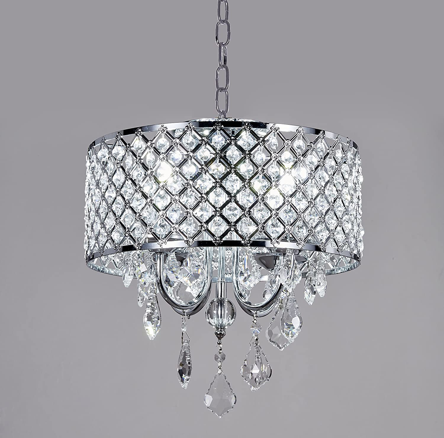 Diamond Life 4-Light Chrome Round Metal Shade Crystal Chandelier Pendant Hanging Ceiling Fixture 101-14i-4L-s