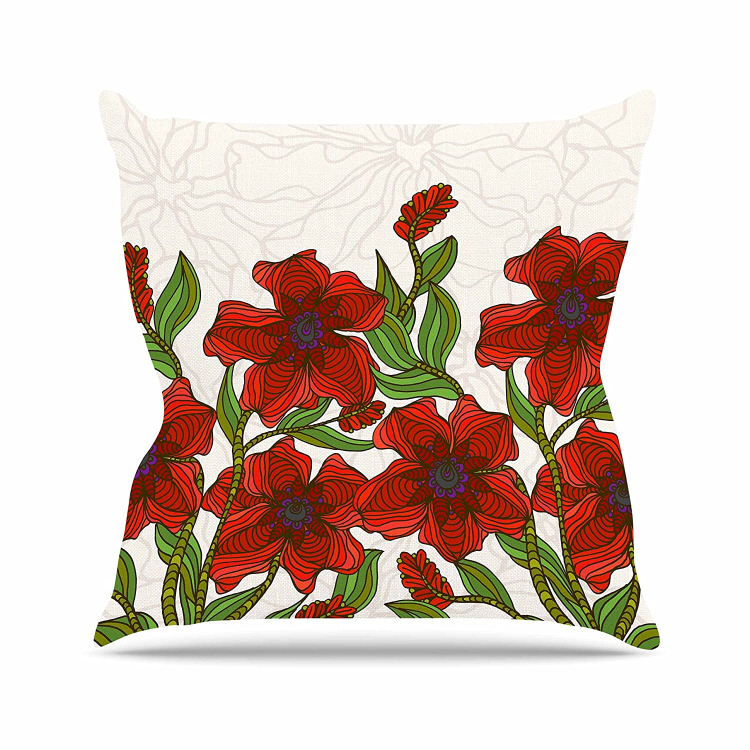 18 by 18 Kess InHouse Art Love Passion Poppy Field Red Beige Throw Pillow