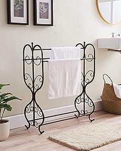 Kings Brand Furniture - Fannin Free Standing 3 Tier Metal Towel Rack Stand, Pewter