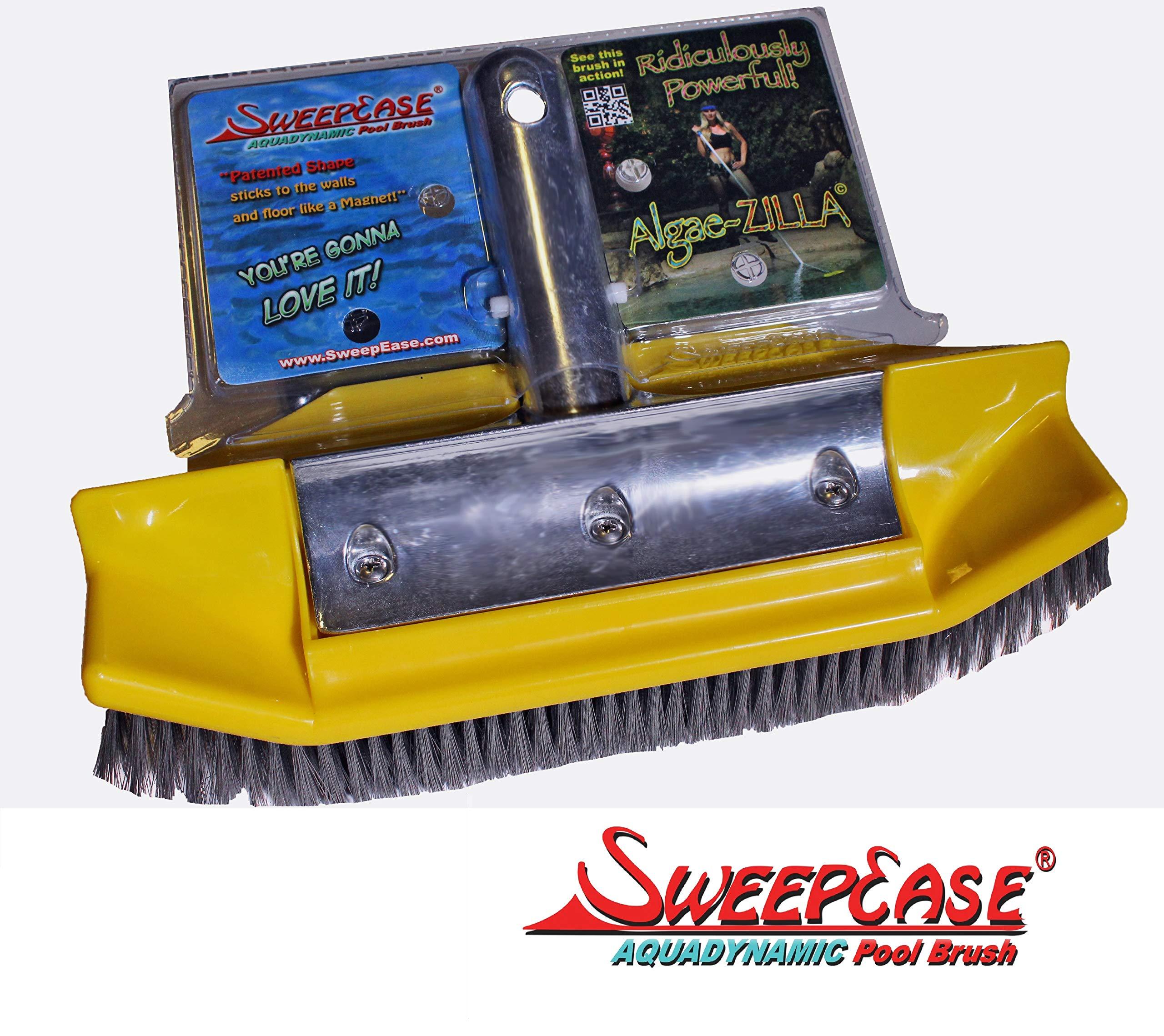 SweepEase 654367706305 AlgaeZilla 10'' 100% SS Bristle Algae Brush, Yellow by SweepEase