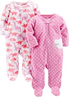 Simple Joys by Carter's Baby Girls' 2-Pack Fleece Footed Sleep-and-Play