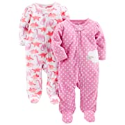Simple Joys by Carter's Baby Girls' 2-Pack Fleece Footed Sleep and Play, Dino/Lambs, 6-9 Months