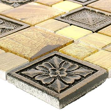 Mosaikfliesen Levanzo Glas Resin Ornament Mix Gold | Wandfliesen | Mosaik  Fliesen | Glas
