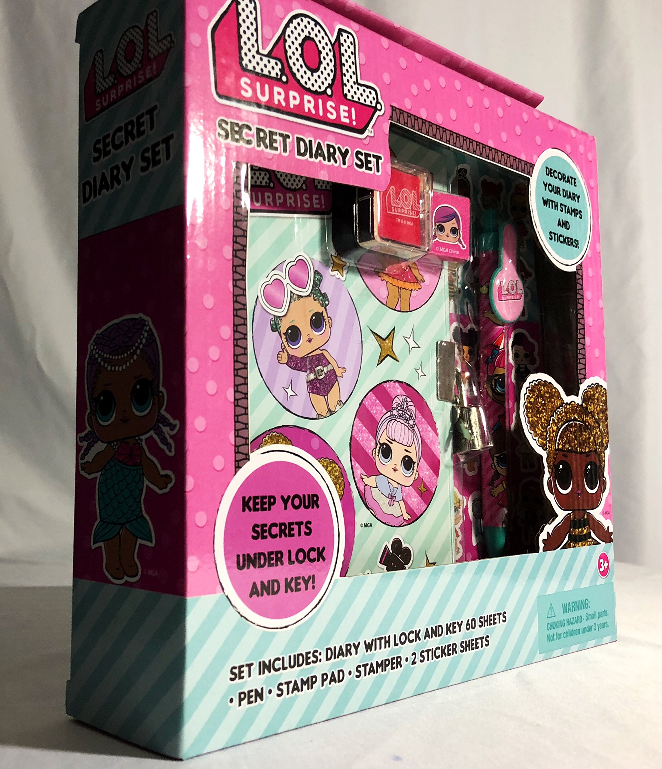 LOL SURPRISE 60 Sheets Diary with Pom Pen with Lock /& Key /& Sticker Lol Lol Doll