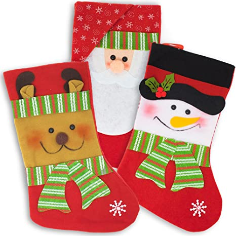 The Twiddlers 3 Calcetines Navideños de Terciopelo – Christmas Stockings - Medias Decorativas Colgantes con Diseños