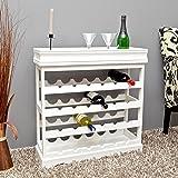 Cantinetta portabottiglie per 24 bottiglie in legno laccato bianco, completa di vassoio servi bevande