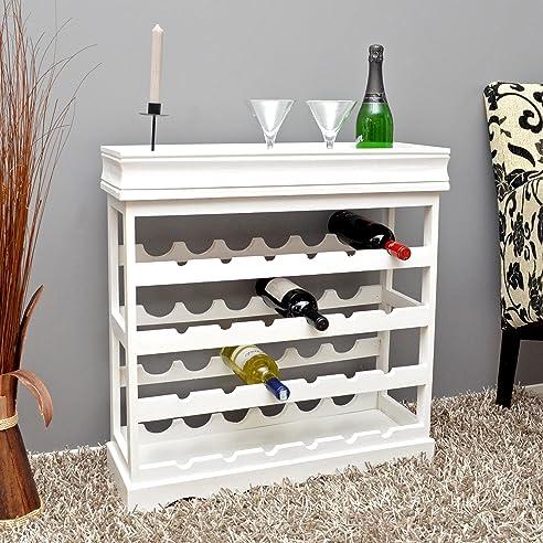 ts-ideen Weinregal weiß für 24 Flaschen Flaschenregal weißes Holz ...