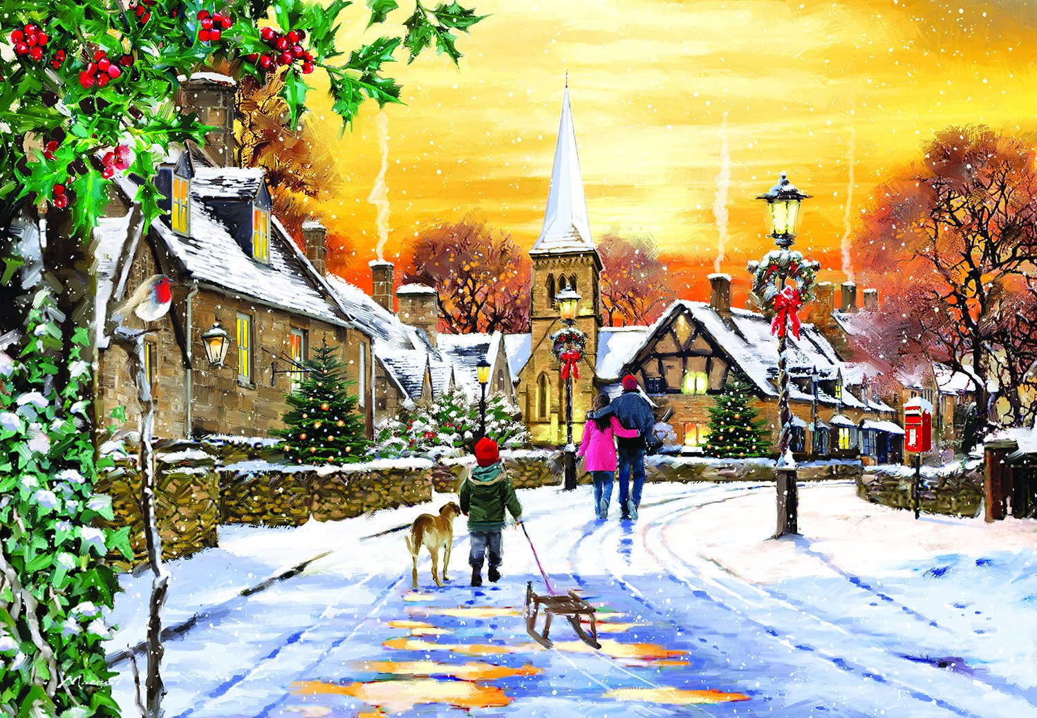 Village Streets - A 300 Piece Jigsaw Puzzle by SunsOut