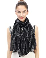 Lina & Lily Music Notes Print Women's Scarf Oversized