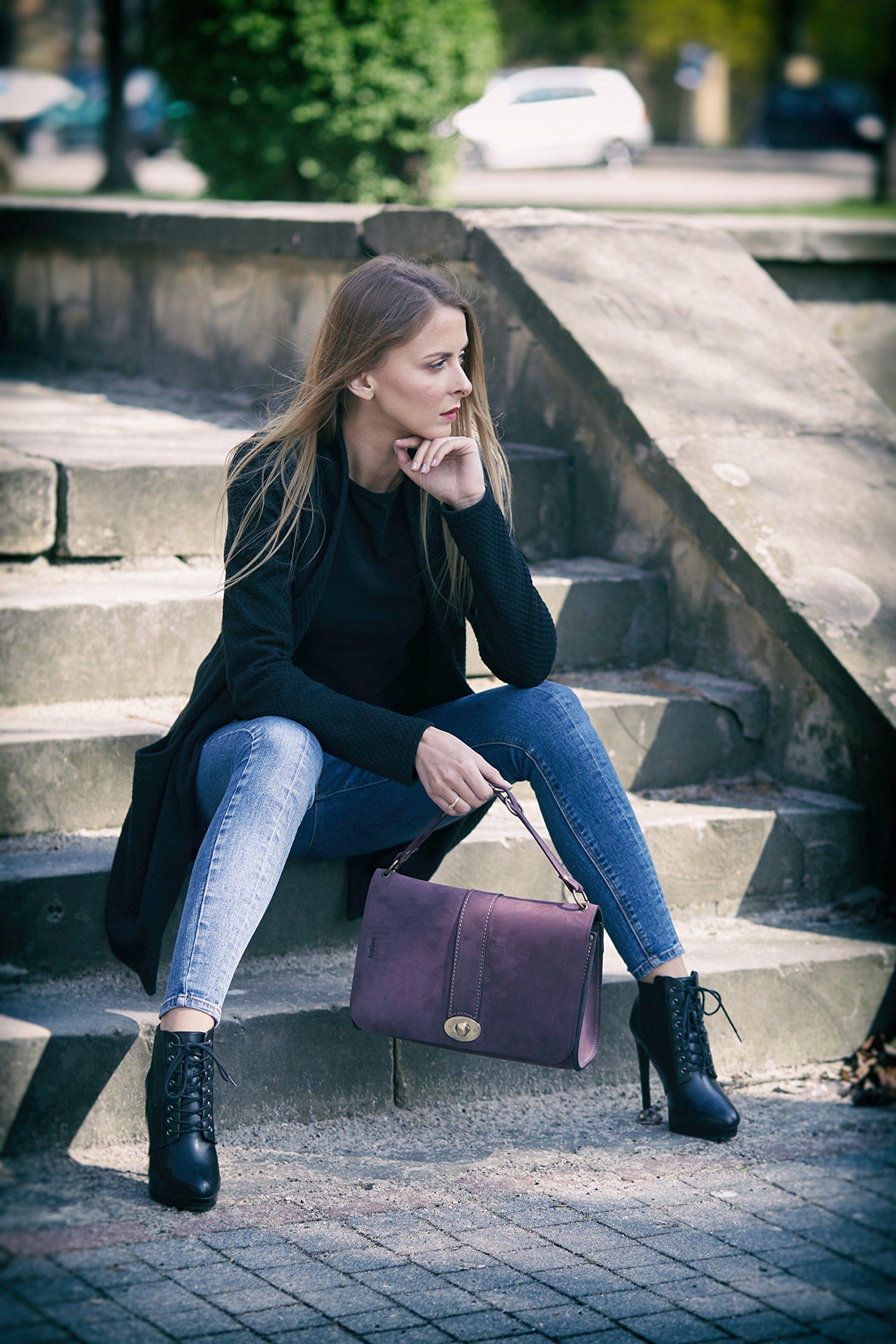 Handmade Leather Bag, Cross Body Bag, Shoulder Bag, Natural Leather, Ella Design Bag, Vintage Style, Plum Color, NEW