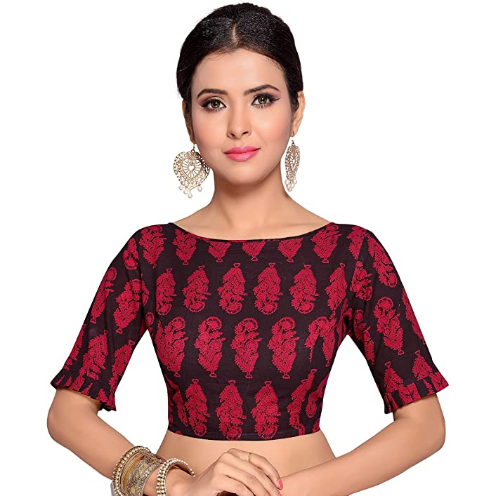 aa5db0fcd9c STUDIO SHRINGAAR WOMEN S RED AJRAK PRINT PURE COTTON STITCHED SAREE BLOUSE  WITH FRILLED SLEEVES  Amazon.in  Clothing   Accessories