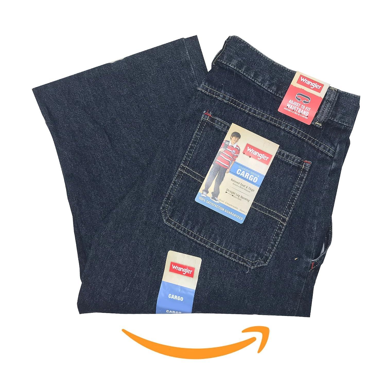 6da20c44b Amazon.com: Wrangler Boys' Classic Denim Cargo Jeans/Relaxed Seat &  Thigh/Straight Leg Opening/Waistband: Clothing