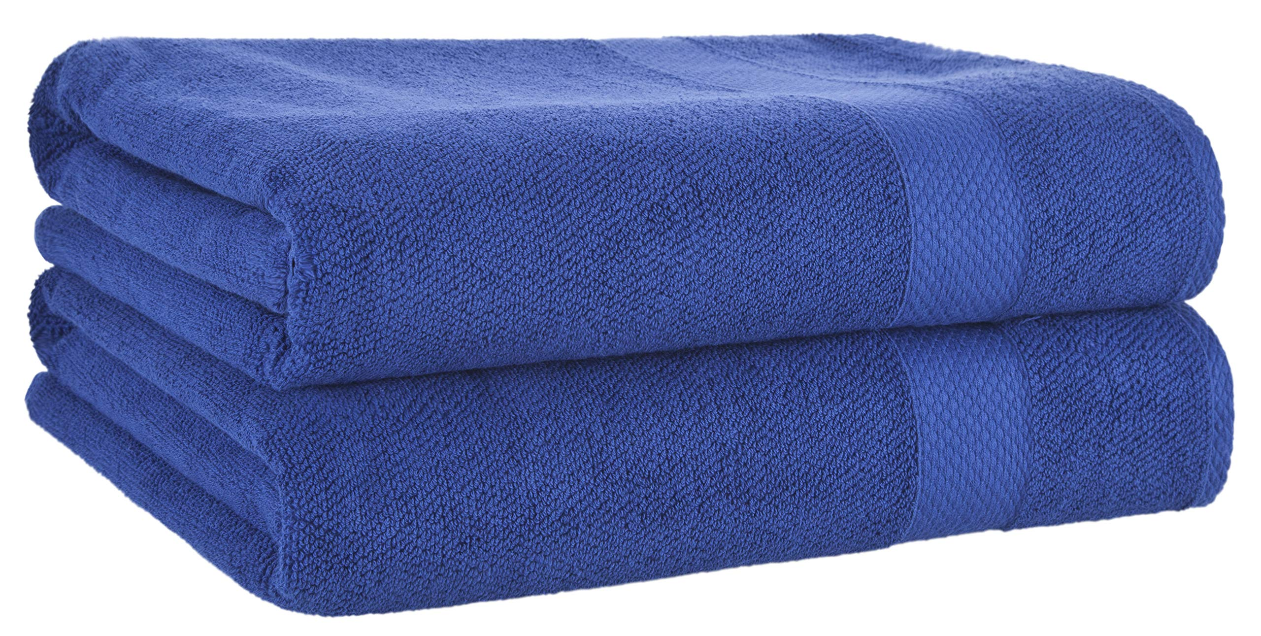 Bath Sheets Blue 2-Pack Set - 100% Cotton Ultra-Absorbent Oversized Extra Large Bath Sheet - Luxury Quick Dry Jumbo Size Bath Towels - Premium Quality Hotel Collection Big Soft Towels (35x70 inch)
