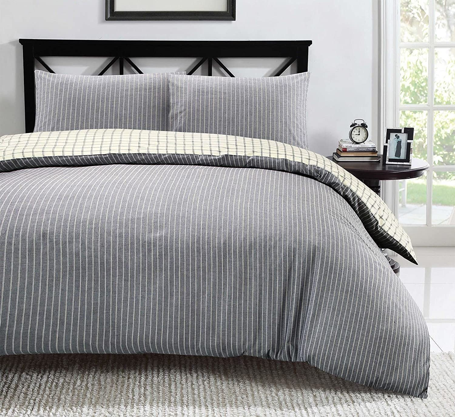 home cream dp duvet blue uk reversible co double amazon striped chambray woven cotton check and jakarta kitchen set cover